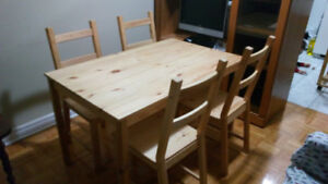 IKEA. Table and 4 chairs, pine. Sale for Moving. 60 CAD