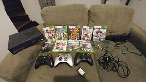 Xbox 360 bundle w/kinect and controllers, all wires included