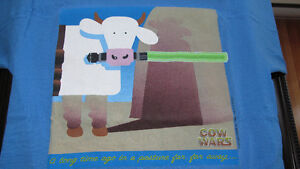 """Cows """"Cow Wars"""" (Star Wars Episode One) Shirt (adult small) 1999"""