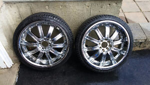 """18"""" Chrome rims with tires"""