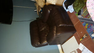Genuine leather sofa and recliner