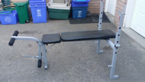 wide stance weight bench with with leg attachment , incline