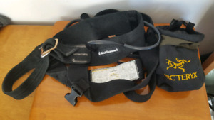 Black diamond climbing harness and chalk bag