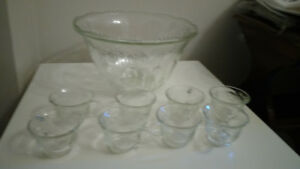 Crystal cut vintage punch bowl and cups
