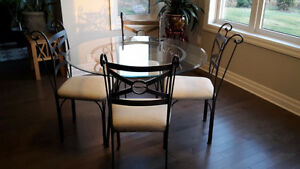Dining Set - Glass top table and 4 chairs
