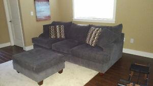 Grey Chenille Sofa & Ottoman $650