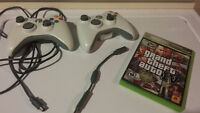2 Xbox 360 controllers plus GTA 4 and COD3