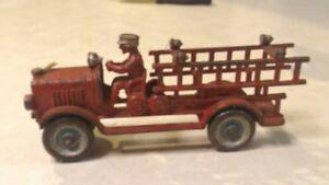 Antique CAST IRON DENT TOY FIRE ENGINE- LADDER TRUCK