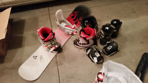 Rossignol snowboard with 2 sets of boots and bindings
