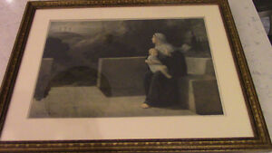 1915 Scarce Print Virgin Mary at Calvary by E. Piaz, France Kitchener / Waterloo Kitchener Area image 1