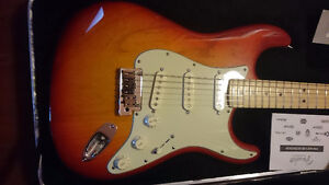 Like New 2013 Ash Fender Strat Deluxe Aged Cherry Burst+OHSC+CoA