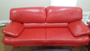 Red Leather Sofa and Loveseat with Ottoman