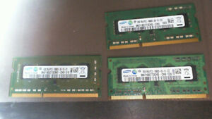 Laptop DDR3 Memory (Samsung) 2 x 2 gb & 4gb