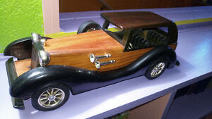 Vintage 1:18 scale wood and brass old Mercedes car model
