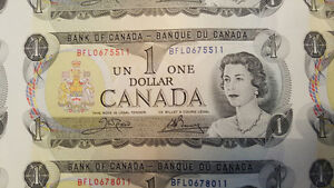 Uncut 1 dollar canadian bills 1973