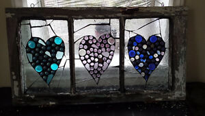 Stained glass three hearts mosaic