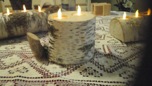 Very unique Birch Log Candle holder
