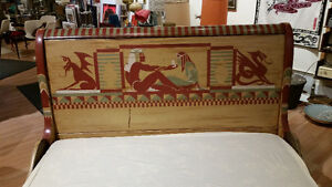 Vintage Sleigh Bed Frame Double Egyptian Motif hand painted Sarnia Sarnia Area image 4
