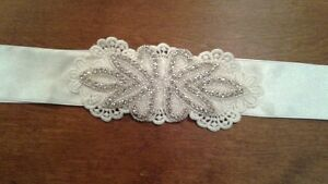 Rhinestone Glitter Satin Fitted White Bridal Sash, Belt - New!