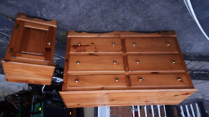 Dresser and night stand maple pine wood