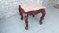 WOOD CARVED CHINESE TABLE WITH MARBLE TOP
