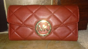 NEW MK Women's Carryall Flap Leather Wallet - RED - Michael Kors