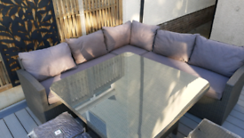 Corner rattan garden furniture / dining set