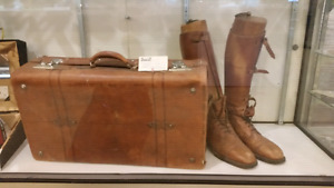Antique leather military boots in case with boot wood strecher