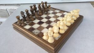 Italian hand carved alabaster chess set