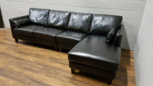 Free delivery: Top-Grain Leather Sectional