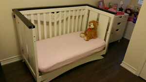 Wood crib with mattress for sale $30 - it turns into a bed