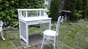 BEAUTIFUL ANTIQUE WICKER DESK AND CHAIR