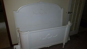 Old Wooden Bed Frame Carved and Curved