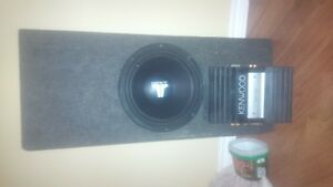 "12"" jl audio w0 with box and kenwood amp"