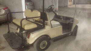 1998 CLUB CAR GOLF CART WITH REAR SEAT AND FRONT AND REAR LIGHTS