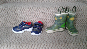 Toddler size 7 sneakers and rain boots