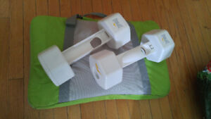 Wii Fit Nintendo exercise board, CD and dumb bell cases.