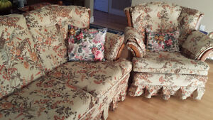 Sofa and Recliner Chair with 3 pollows