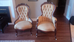 Antique His and Her Chairs