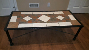 Coffee Table and End Table - Black Iron Legs and  mosaic tile