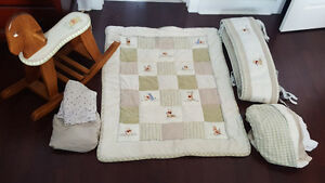 Crib Bedding Set with Hand Painted Rocking Horse