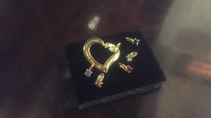 14k Yellow Gold Heart Pendant with Mix Stones