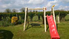 Kids climbing frame ladder slide and nest net swing