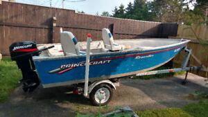 aluminum boat 15 foot princecraft 25hp mercury and trailer