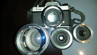 Pentax 35mm Film camera k1000 with 3 lenses & Flash