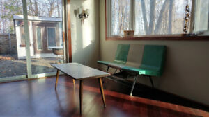 MID CENTURY MODERN RETRO 50s WHITE TILE AND WOOD COFFEE TABLE