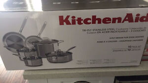 Kitchen Aid 10 piece stainless steel cookware
