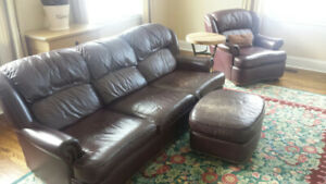 Sklar Leather Sofa and 2 Chairs