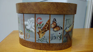 "One of a kind hand painted wood box called ""Noah's Alphabet"" Windsor Region Ontario image 6"