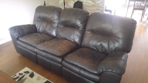 Espresso Brown Leather Recliner Couch